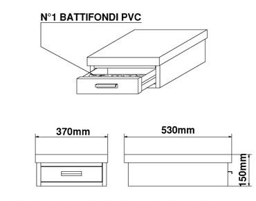Basamento Bezzera in acciaio inossidabile, 1 cassetto, L=370mm