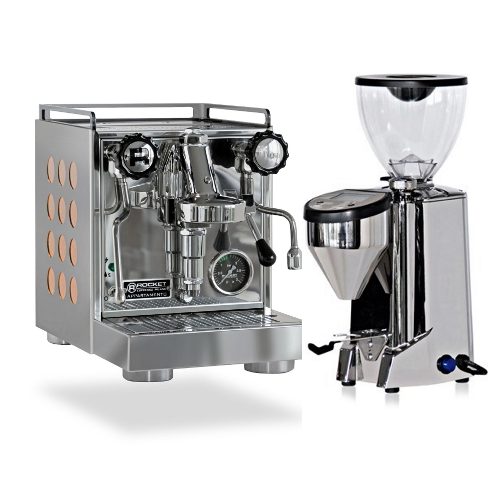 Coffee machine Rocket CAppartamento Cooper + Coffee grinder Rocket Fausto polished