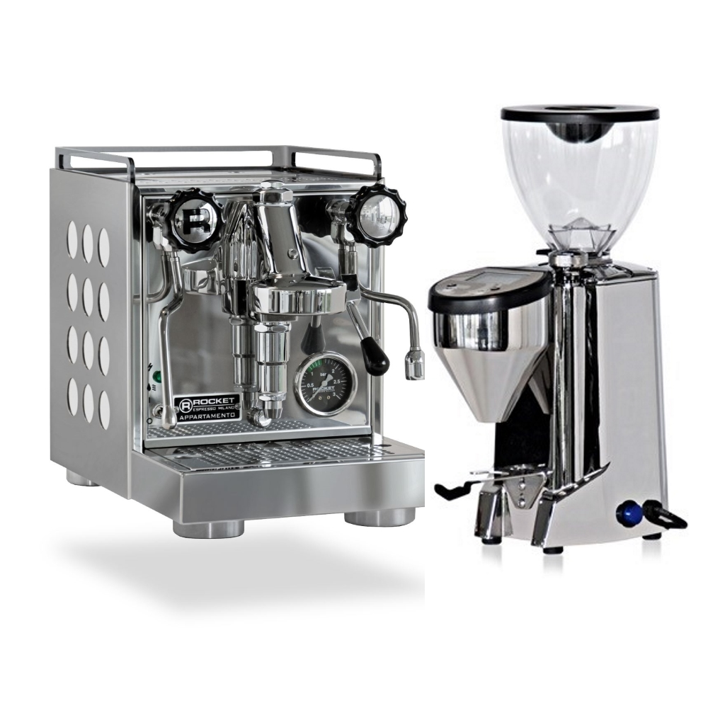 Coffee machine Rocket CAppartamento White + Coffee grinder Rocket Fausto polished