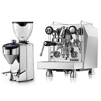 Coffee machine Rocket Giotto Evoluzione Type R + Coffee grinder Rocket Fausto polished