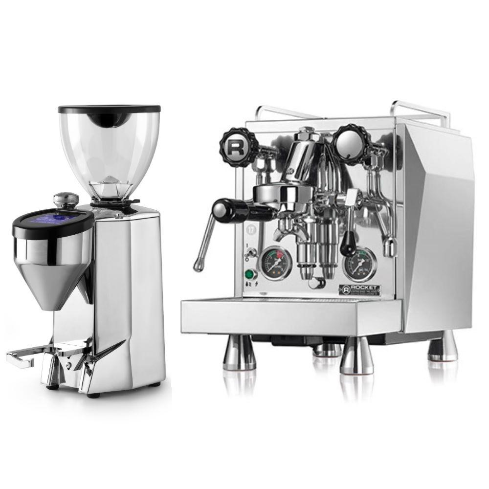 Macchina caffè Rocket Giotto Evoluzione Type R + Macinacaffè Rocket Fausto lucido
