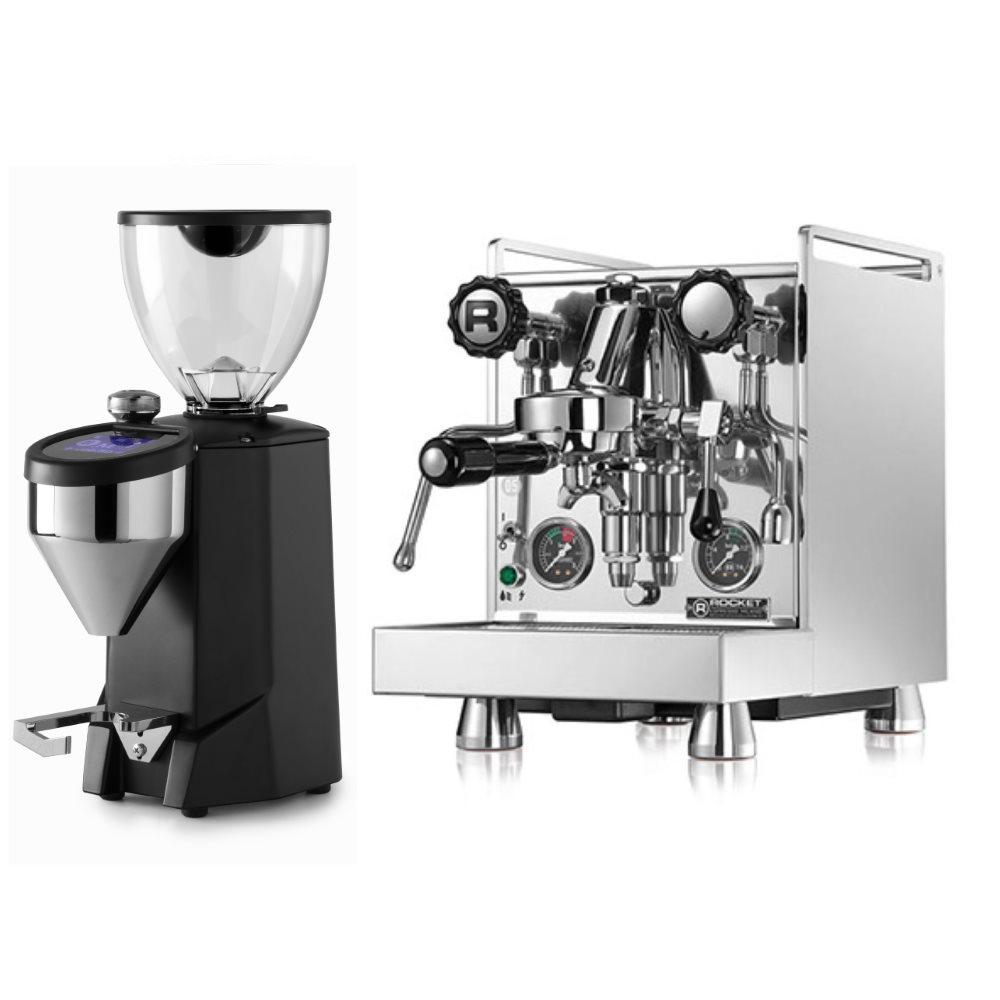 Coffee machine Rocket Mozzafiato Evoluzione Type R + Coffee grinder Rocket Fausto black