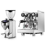 Coffee machine Rocket Mozzafiato Evoluzione Type R + Coffee grinder Rocket Fausto polished