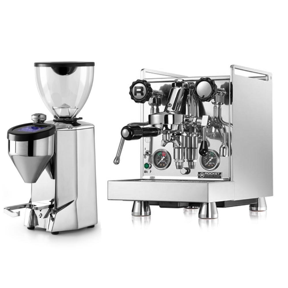 Macchina caffè Rocket Mozzafiato Evoluzione Type R + Macinacaffè Rocket Fausto lucido