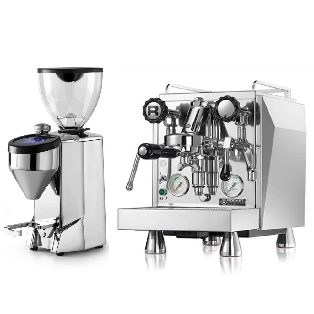 Coffee machine Rocket Giotto Type V + Coffee grinder Rocket Fausto polished